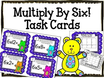 Multiplication Task Cards.Multiply by Six 6 Times Tables A