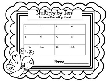 Multiplication Task Cards.Multiply by TEN 10 Times Tables Assessment Math Center