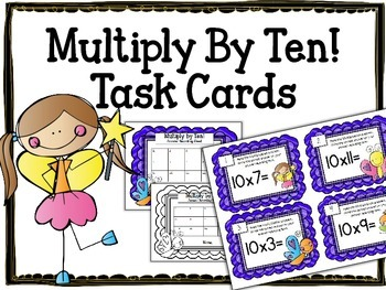 Multiplication Task Cards.Multiply by TEN 10 Times Tables