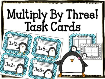 {FREEBIE} Multiplication Task Cards.Multiply by THREE. Times Tables Math Center