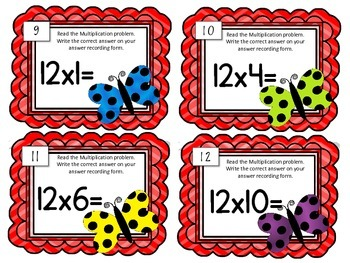 Multiplication Task Cards.Multiply by TWELVE 12 Times Tables Math Center