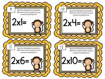 Multiplication Task Cards. Multiply by TWO.Times Tables. Assessment. Math Center