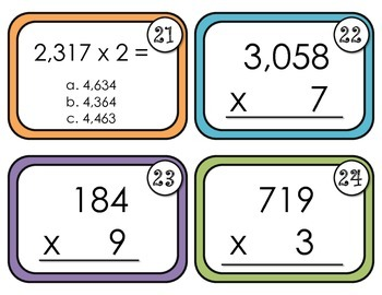 Multiplication Task Cards-Multiplying a number of up to 4 digits by 1 digit