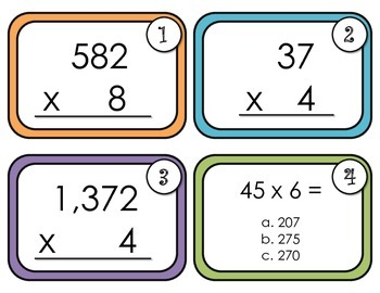 Multiplication Task Cards-Multiplying a number of up to 4