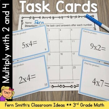 Multiplication Task Cards - Multiply By 2 and 4