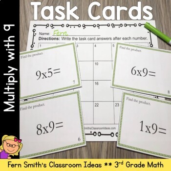 3rd Grade Go Math 4.9 Multiplication Task Cards - Multiplying with 9