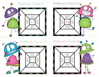 Multiplication Task Cards & NO PREP Printable Puzzles 4 digit X 1 digit