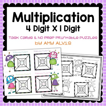 Multiplication Task Cards & NO PREP Printable Puzzles - 4