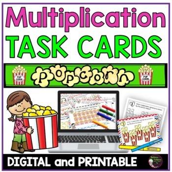 Multiplication  Task Cards - (Popcorn Theme)