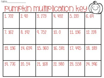 Multiplication Task Cards- Pumpkin Theme