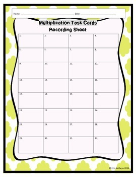 Multiplication Task Cards - Set of 32 Common Core Aligned