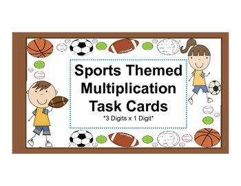 Multiplication Task Cards Sports Themed with QR Codes