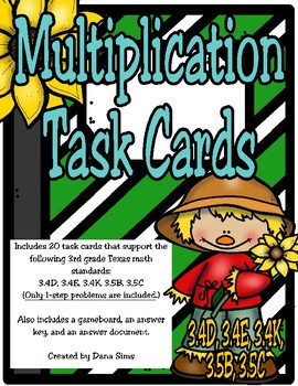 Multiplication Task Cards (TEKS 3.4D, 3.4E, 3.4K, 3.5B, 3.5C)