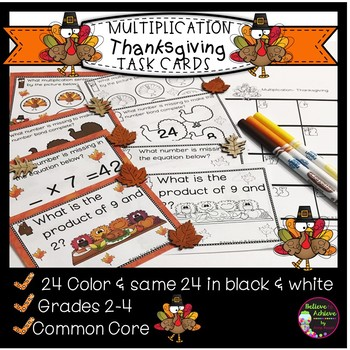 Multiplication  Task Cards - (Thanksgiving Theme)