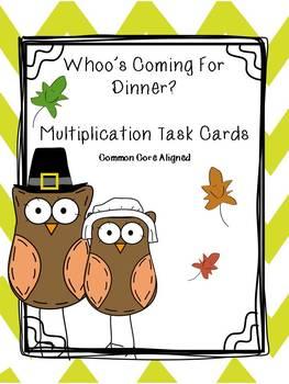 Thanksgiving Math Multiplication Task Cards