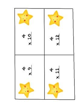 Multiplication Superstar Flash Cards - Times Tables 1 - 4
