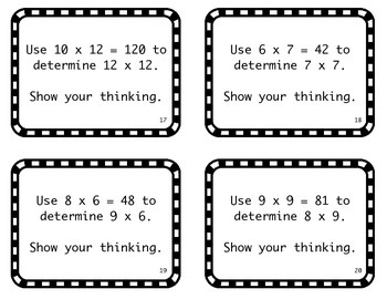 Multiplication Task Cards: Using Known Facts to 12x12