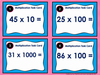 Multiplication Task Cards: Using Place Value to Multiply by 10, 100, and 1000