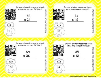 Multiplication Task Cards WITH and WITHOUT QR Codes: 2 Digit
