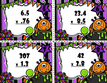 Multiplication Task Cards With Decimals -  Halloween