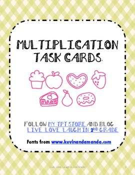 Multiplication Task Cards With and Without Pictures