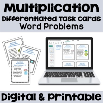 Multiplication Task Cards: Word Problems (Differentiated)
