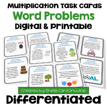 Multiplication Task Cards: Word Problems (3 Levels)