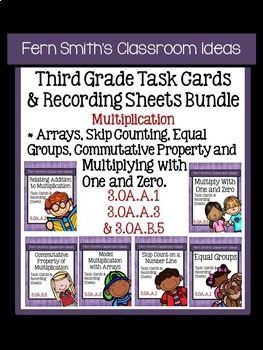 Multiplication Task Cards and Answer Sheets Bundle for Thi