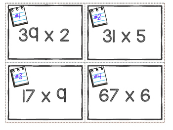 Multiplication Task Cards and Practice Pages - 2 Digit by 1 Digit Multiplication