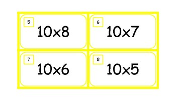 Multiplication Task Cards and Recording Sheet 10 Times Tables