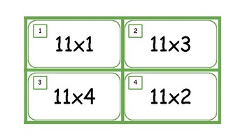 Multiplication Task Cards and Recording Sheet 11 Times Tables