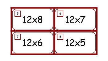 Multiplication Task Cards and Recording Sheet 12 Times Tables