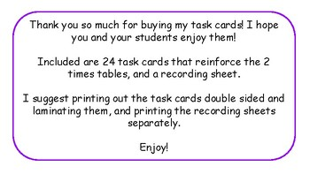 Multiplication Task Cards and Recording Sheet 2 Times Tables