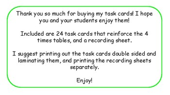 Multiplication Task Cards and Recording Sheet 4 Times Tables