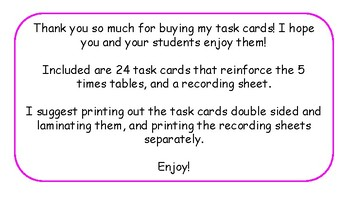 Multiplication Task Cards and Recording Sheet 5 Times Tables