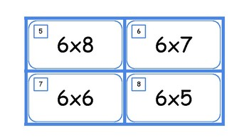 Multiplication Task Cards and Recording Sheet 6 Times Tables