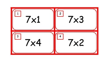 Multiplication Task Cards and Recording Sheet 7 Times Tables