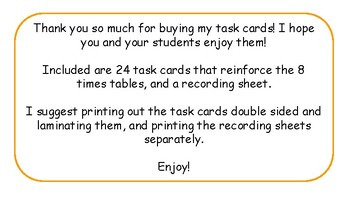 Multiplication Task Cards and Recording Sheet 8 Times Tables