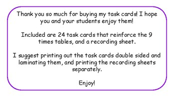 Multiplication Task Cards and Recording Sheet 9 Times Tables