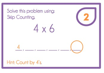Multiplication Task Cards for 2, 3, 4, 5 Times Tables