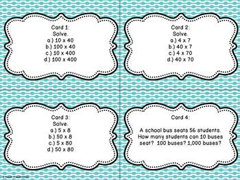 Multiplication Task Cards for Fifth Grade (Common Core Aligned)