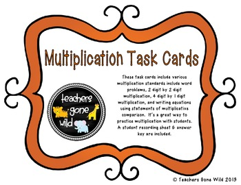 Multiplication Task Cards - set of 20