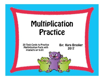 Multiplication Task Cards with Products up to 81