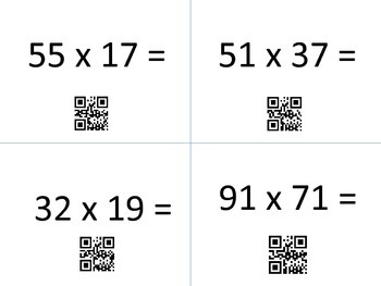 Multiplication Task Cards with QR Codes