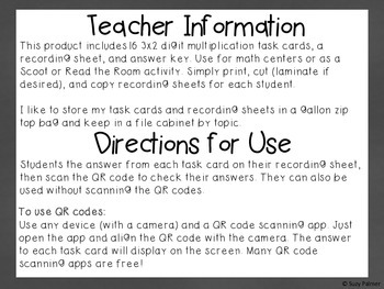 Multiplication Task Cards with QR Codes: 3 digit by 1 digit