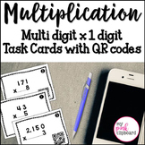 Multiplication Task Cards with QR Codes  Multi-digit by one digit FREEBIE