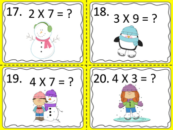 Multiplication Task Cards with a Winter Theme---6 sets