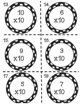 Multiplication Task Cards x10