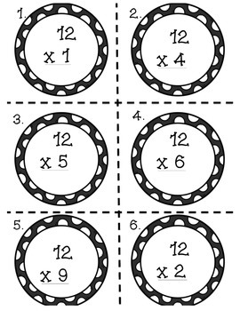 Multiplication Task Cards x12