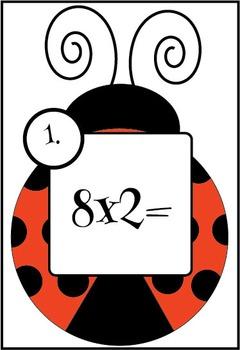 Multiplication of Basic Facts Task/Flash cards {Ladybug Theme}